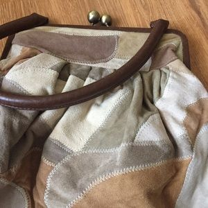 Suede patchwork hobo bag